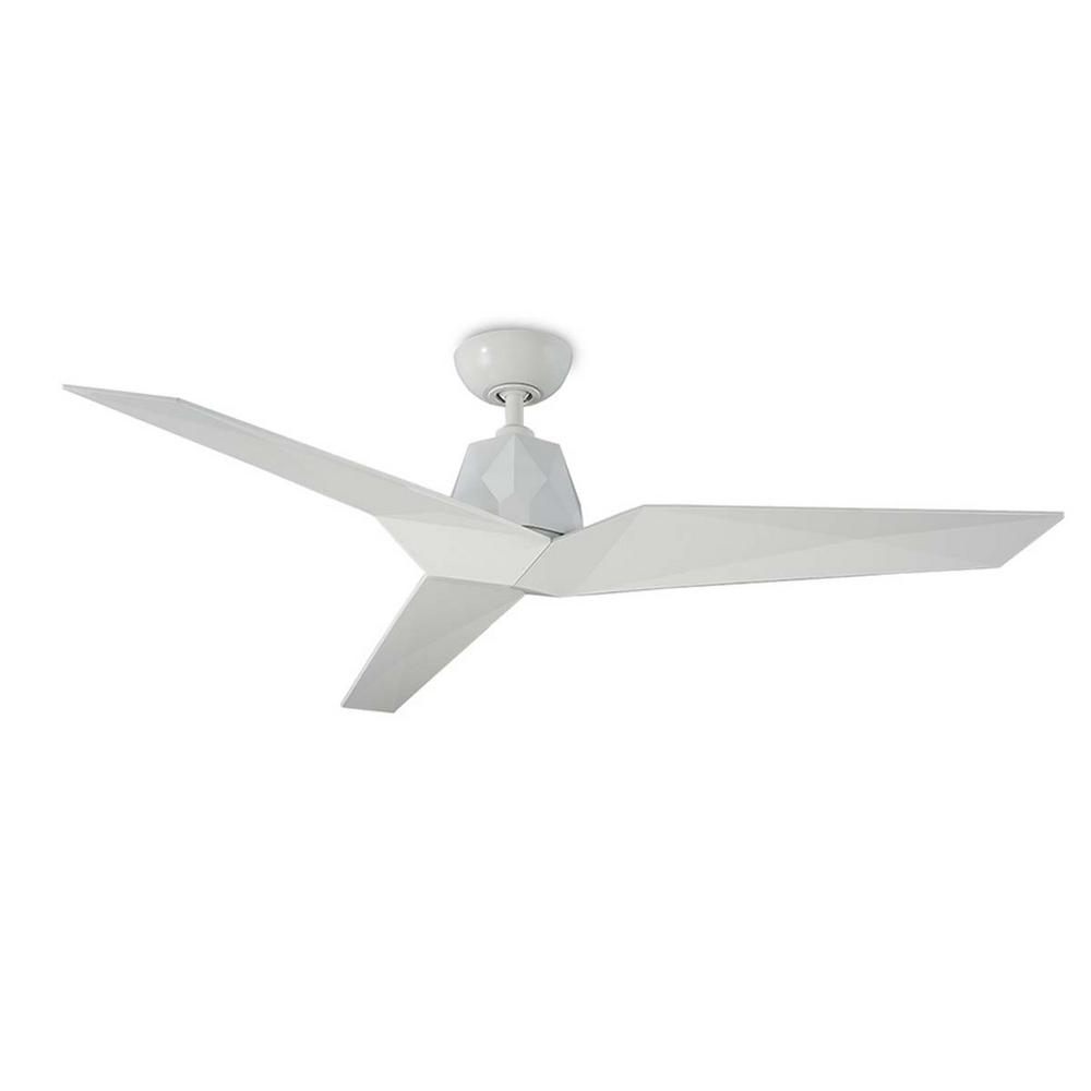 Modern Forms Vortex 60 in. Indoor/Outdoor Gloss White 3-Blade Smart Ceiling Fan with Wall Control