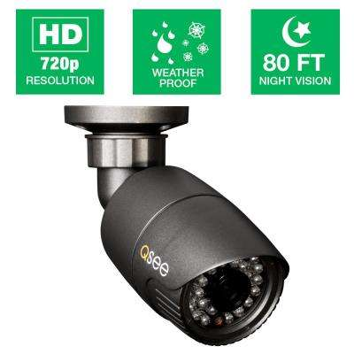Wired 720p HD Indoor or Outdoor Bullet Standard Surveillance Camera with 80 ft. Night Vision