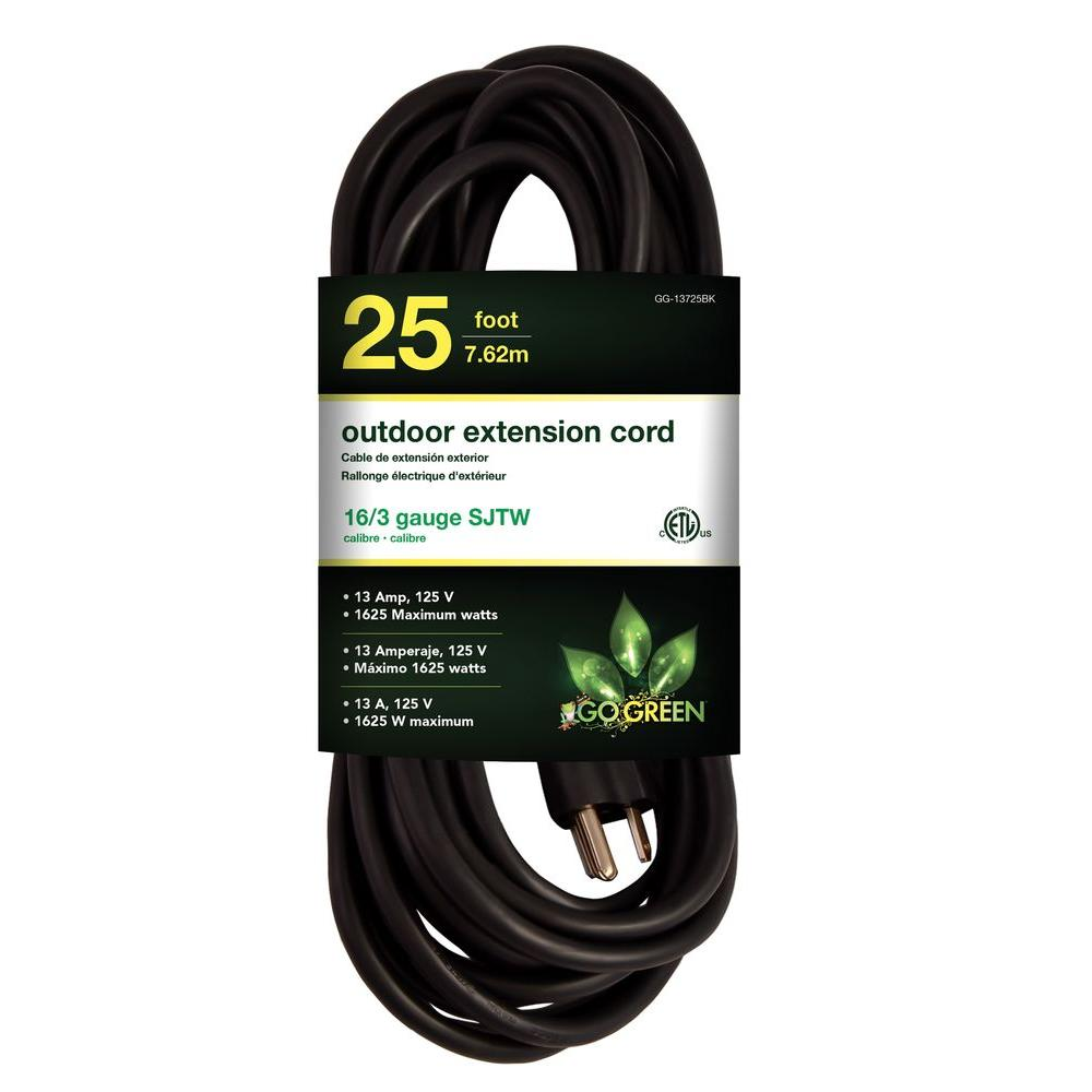 Power By Go Green 25 ft. 16/3 Heavy Duty Extension Cord - Black