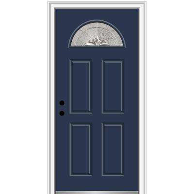 36 in. x 80 in. Heirlooms Right-Hand Inswing 1/4-Lite Decorative 4-Panel Painted Fiberglass Smooth Prehung Front Door
