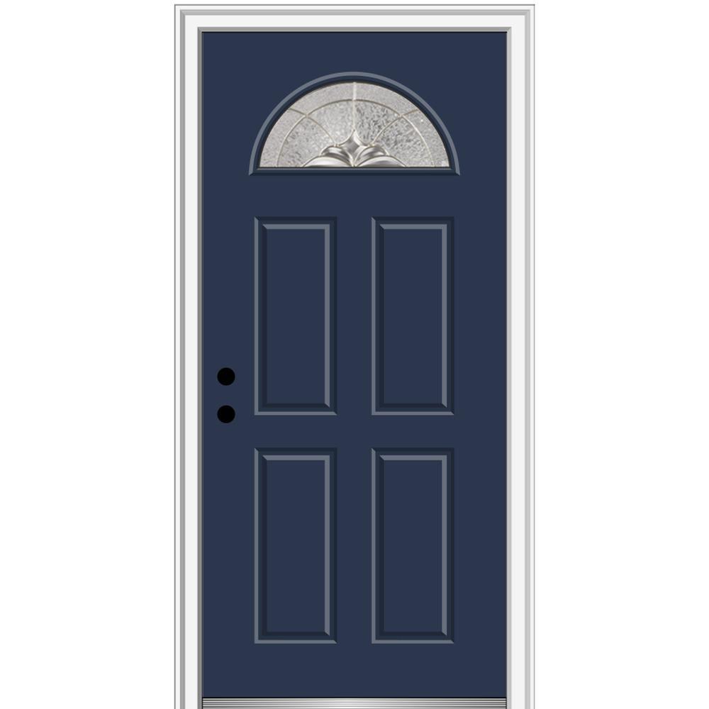32 in. x 80 in. Heirlooms Right-Hand Inswing 1/4-Lite Decorative 4-Panel Classic Painted Steel Prehung Front Door