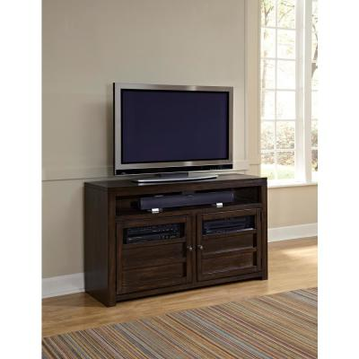 Triumph 54 in. Walnut and Brown Wood TV Stand Fits TVs Up to 50 in. with Storage Doors