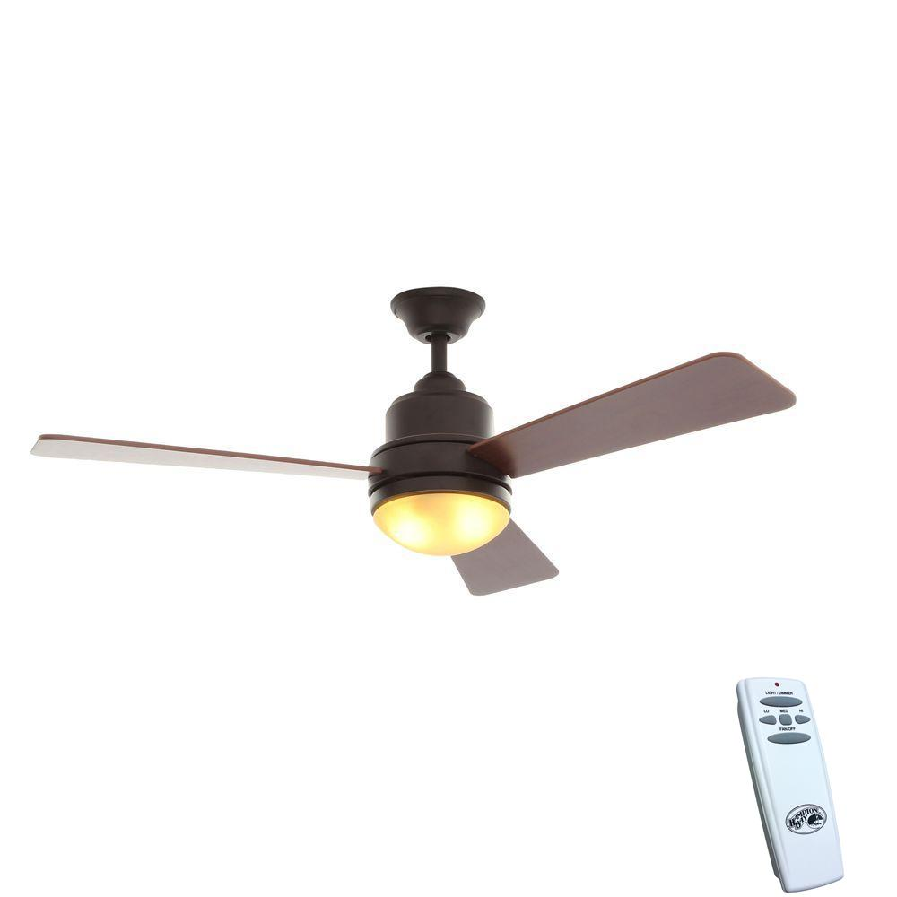 Hampton Bay Trieste 52 in. Indoor Oil-Rubbed Bronze Ceiling Fan with Light Kit and Remote Control