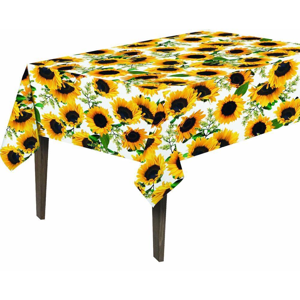 55 in. x 70 in. Indoor and Outdoor Sunflower Design Table...