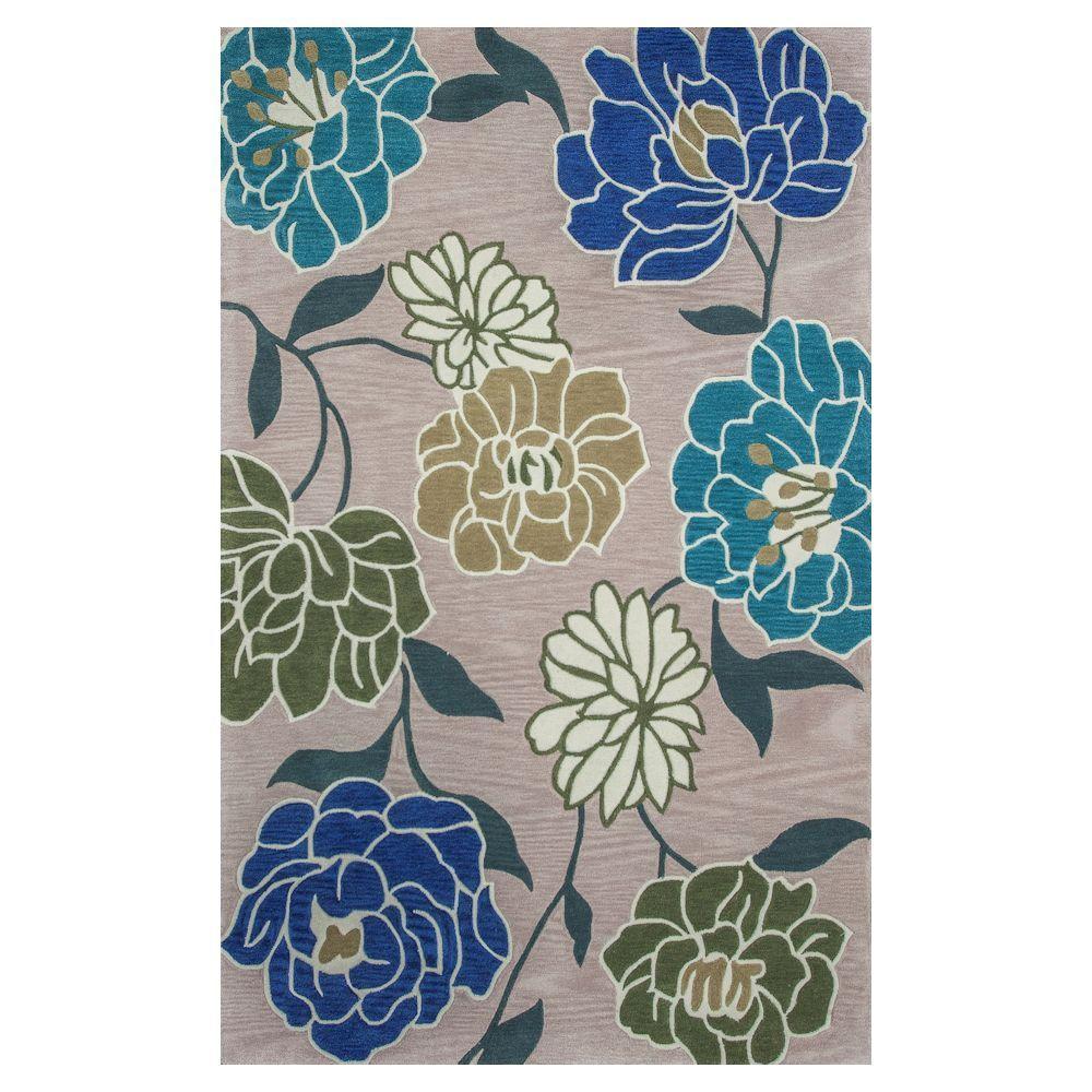 Blooming Garden Beige/Blue 3 ft. 3 in. x 5 ft. 3