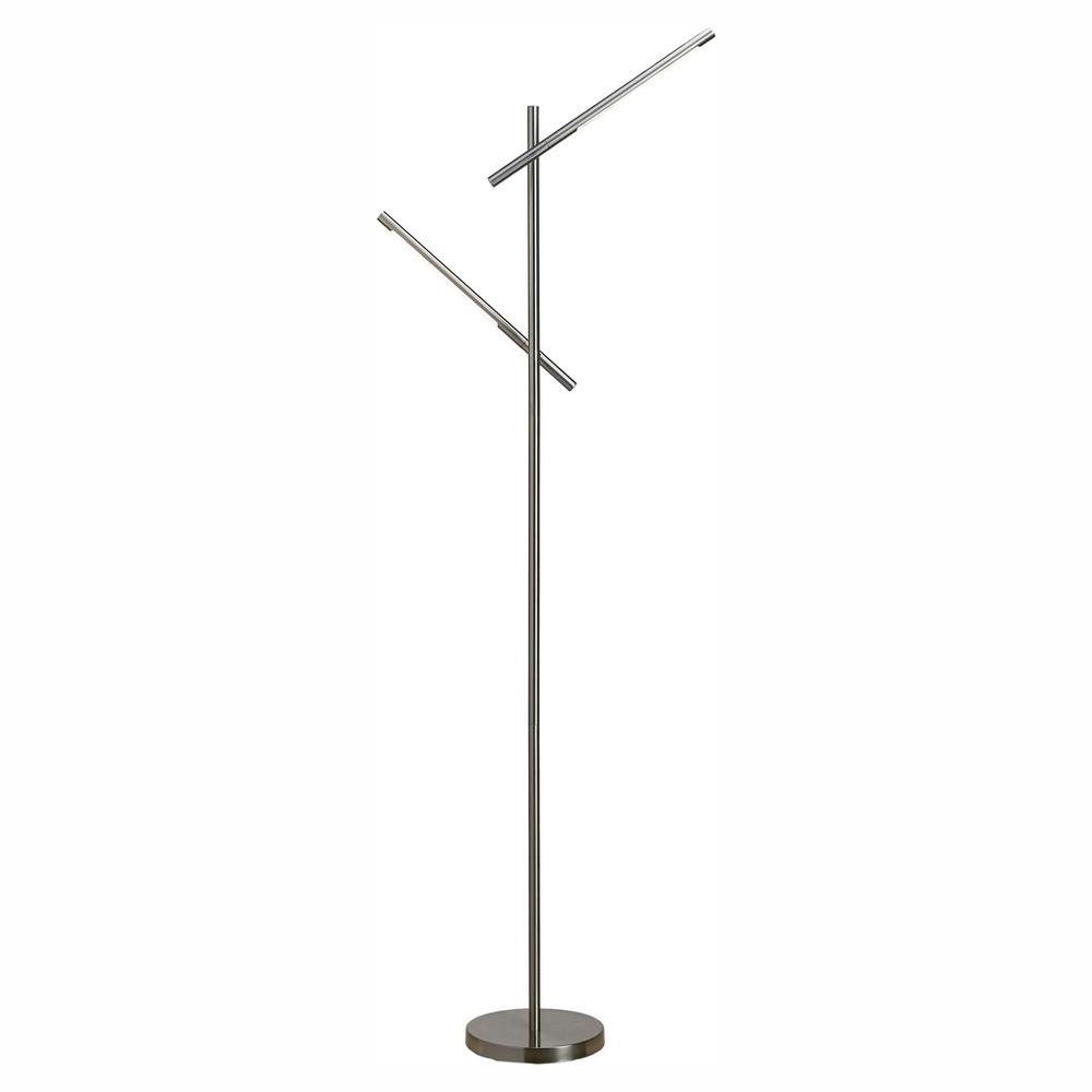 Home Decorators Collection LED 60 in. Brushed Nickel Dual Floor Lamp