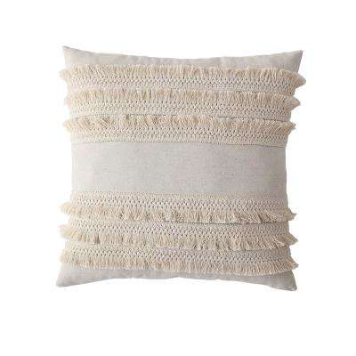 Morgan Home 18 in. Amelia Taupe Fringed Throw Pillow Cover