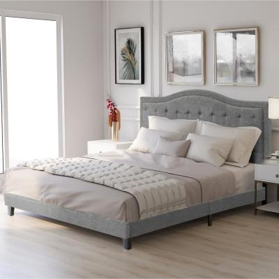 Gray King Classic Style Upholstered Linen Bed