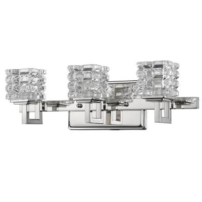 Coralie 3-Light Polished Nickel Vanity Light with Pressed Crystal Shades