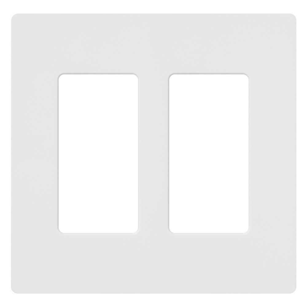 Claro 2 Gang Decorator/Rocker Wallplate,  White (1-Pack)