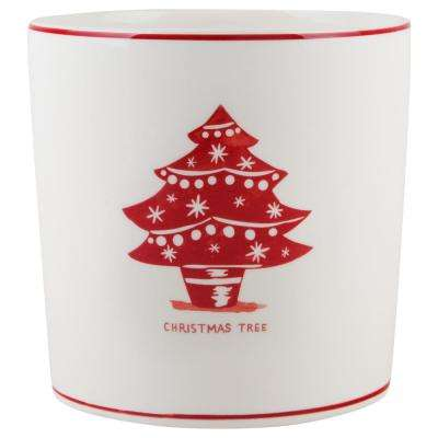 7 in. D White Christmas Tree Round Utensil Crock