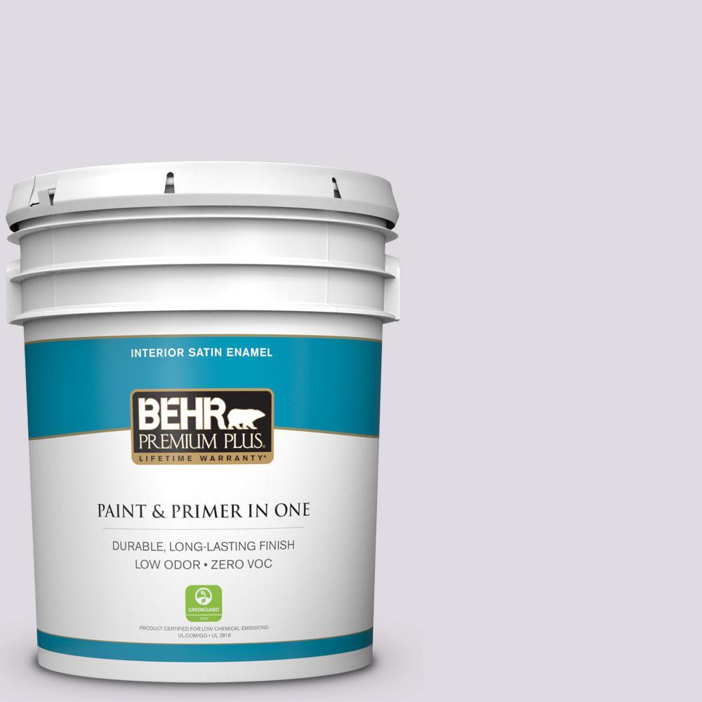 BEHR Premium Plus 5-gal. #PR-W1 Mystical Mist Satin Enamel Interior Paint