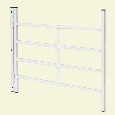 21 in., White Painted Carbon Steel, Hinged 4-Bar Window Grill