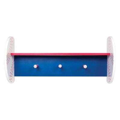 Baseball 24 in. W x 6.5 in. D Decorative Wall Shelf