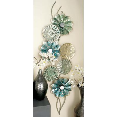 71 in. x 21 in. Iron Colorful Flowers Decorative Wall Decor