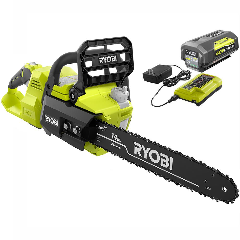 14 in. 40-Volt Brushless Lithium-Ion Cordless Chainsaw, 4 Ah Battery and Charger Included