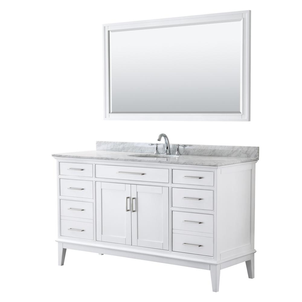 Wyndham Collection Margate 60 in. W x 22 in. D Bath Vanity in White w/ Marble Vanity Top in White Carrara w/ White Basin and 56 in. Mirror