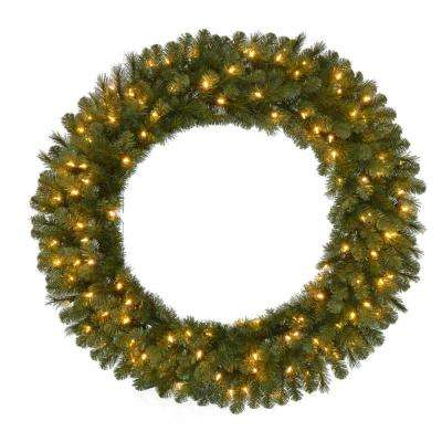 48 in. Pre-Lit LED Artificial Wesley Spruce Christmas Wreath with 366 Tips and 120 Warm White Lights