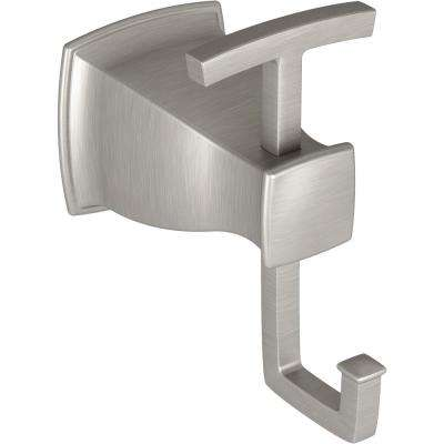 Hensley Double Robe Hook with Press and Mark in Brushed Nickel