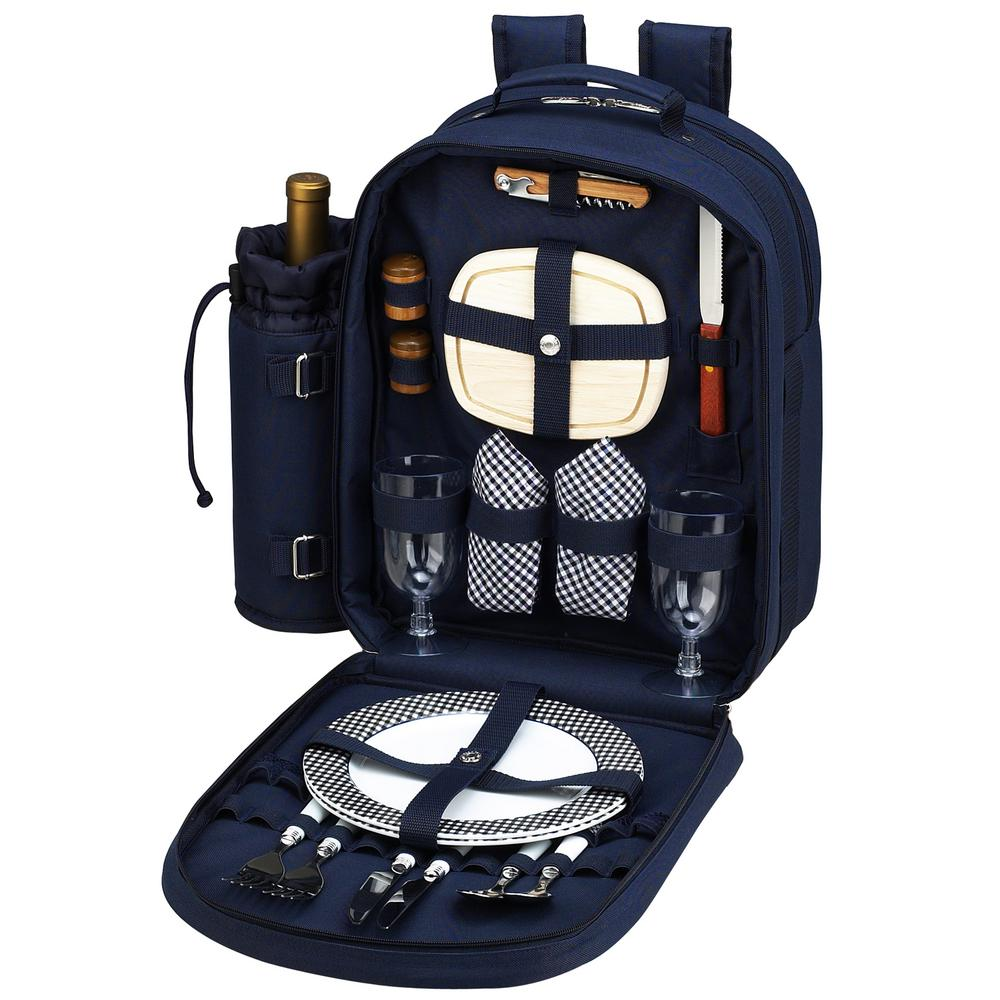 Deluxe Equipped 2-Person Picnic Backpack in Bold Navy