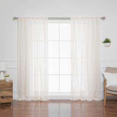 84 in. L Sheer Faux Linen Reverse Diamante Curtain Panels in Yellow (2-Pack)