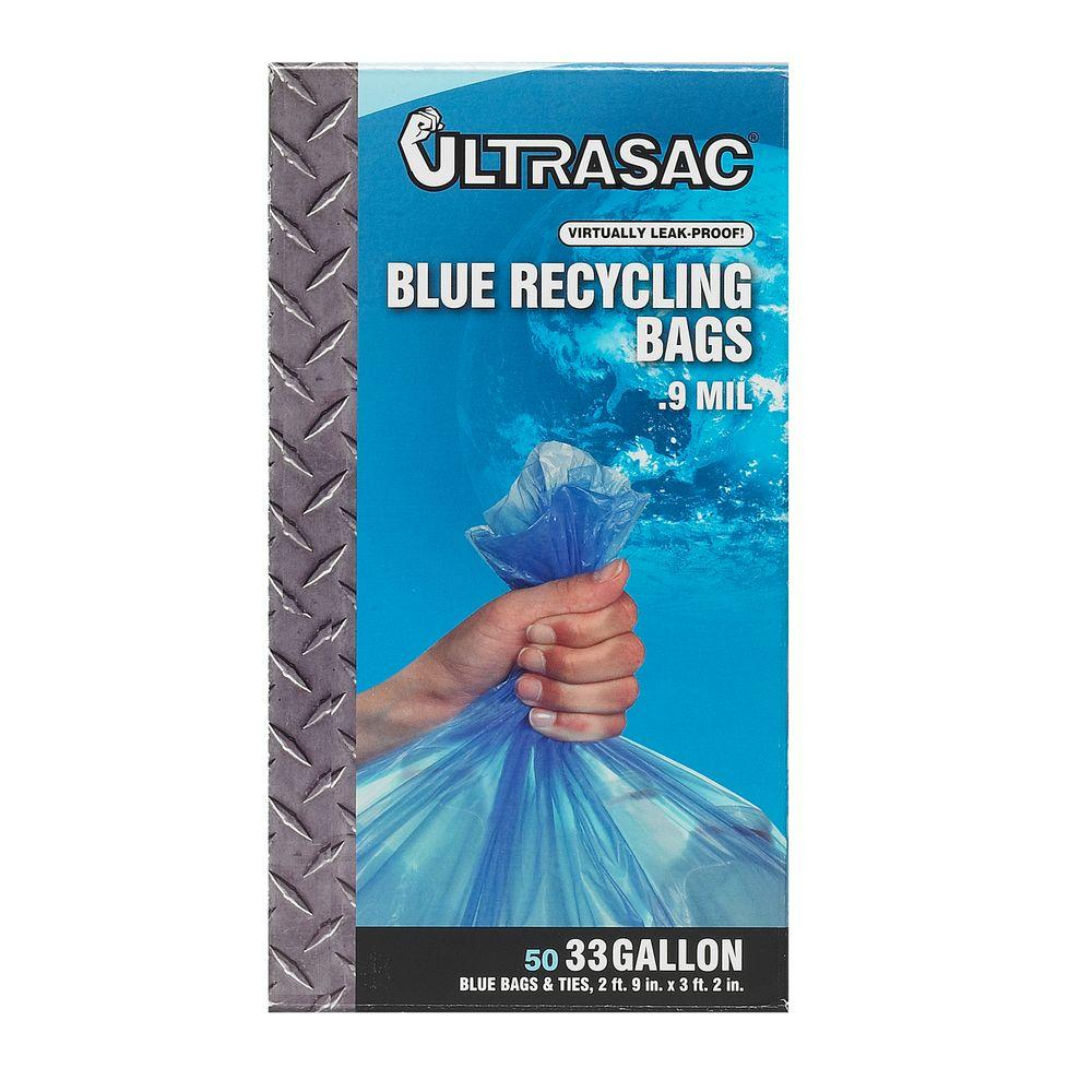 Ultrasac 33 Gal. Recycling Blue Trash Bags (50-Count)-US-BL - The ...