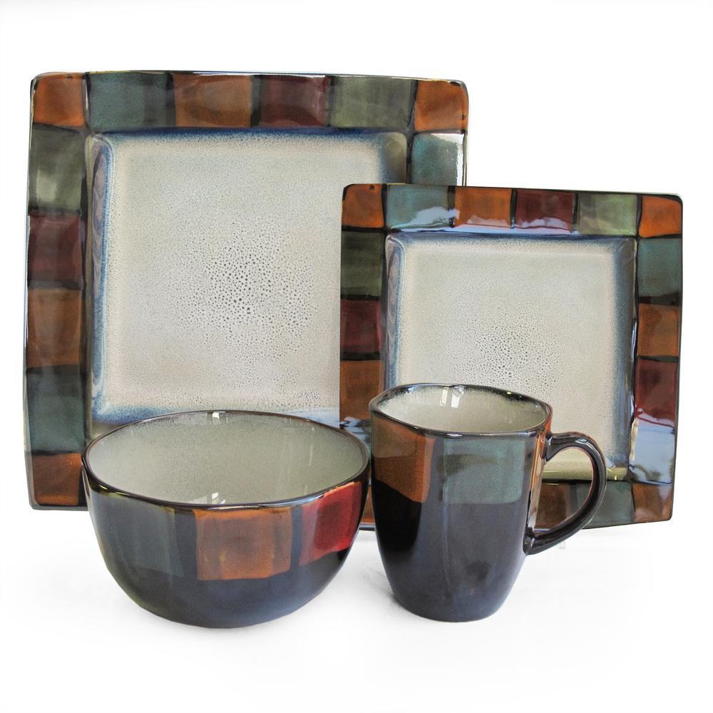 Hopscotch 16-Piece Ivory Colored Dinnerware set