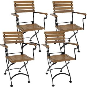 Folding Chestnut Wood Outdoor Dining Armchair (Set of 4)