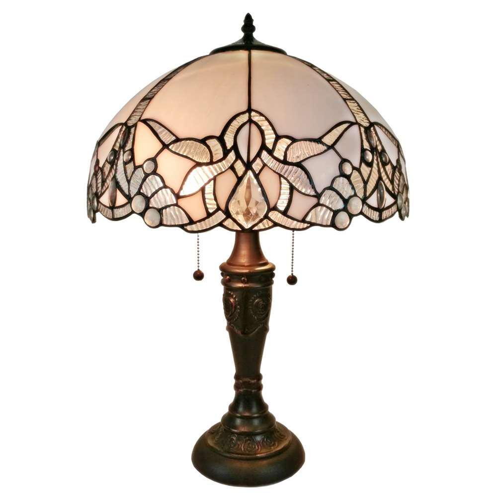 White Tiffany Style Jeweled Table Lamp