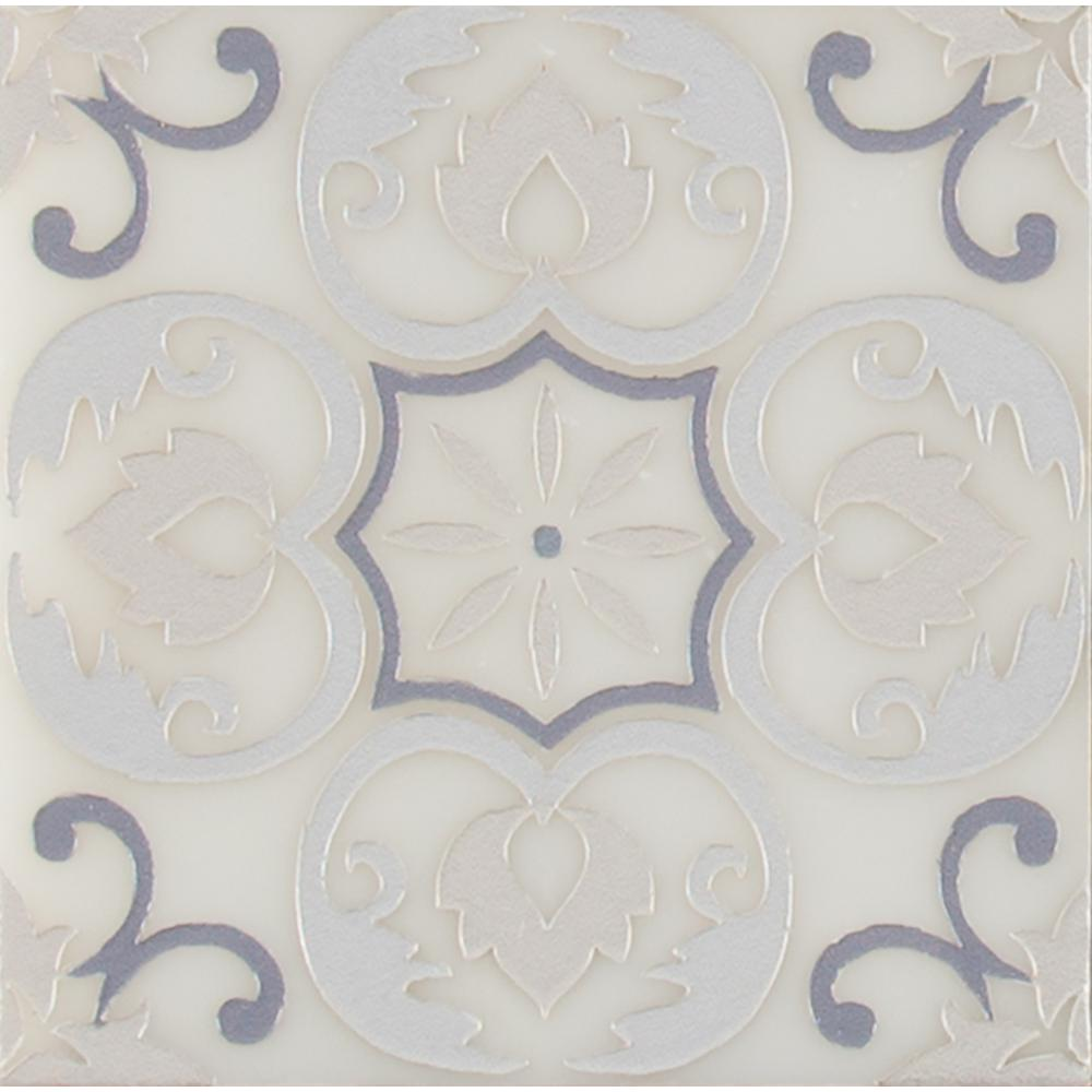 MSI Tetris Florita Blanco 6 in. x 6 in. Polished Marble Wall Tile (5 sq. ft. / case)