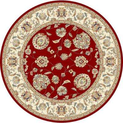 Judith Red/Ivory 8 ft. x 8 ft. Round Indoor Area Rug