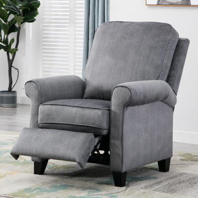 Slate Gray Recliner Chair Modern Reclining Sofa with Roll Arm Pushback Manual Recliner Heavy Duty