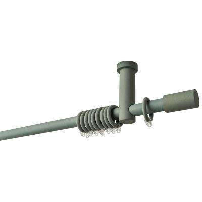 63 in. Intensions Curtain Rod Kit in Forest with Long Finials with Ceiling Brackets and Rings