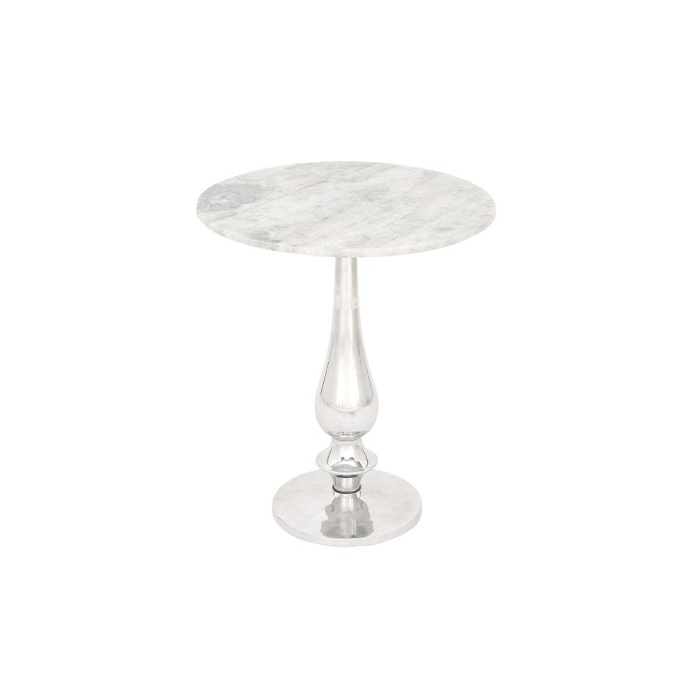 White Marble Round Accent Table With Silver Aluminum Pedestal Stand
