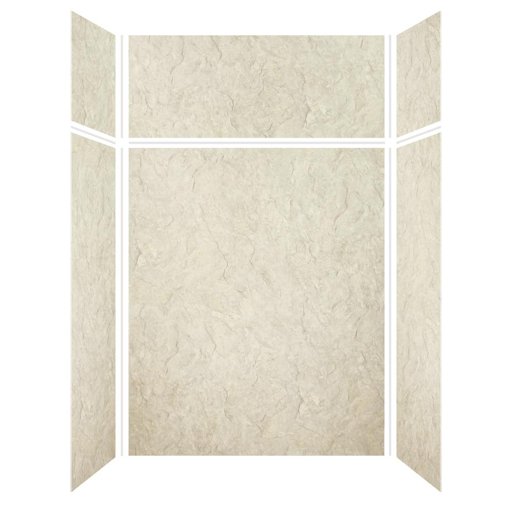 Transolid Expressions 32 in. x 60 in. x 96 in. 4-Piece Easy Up Adhesive Alcove Shower Wall Surround in Sea Fog