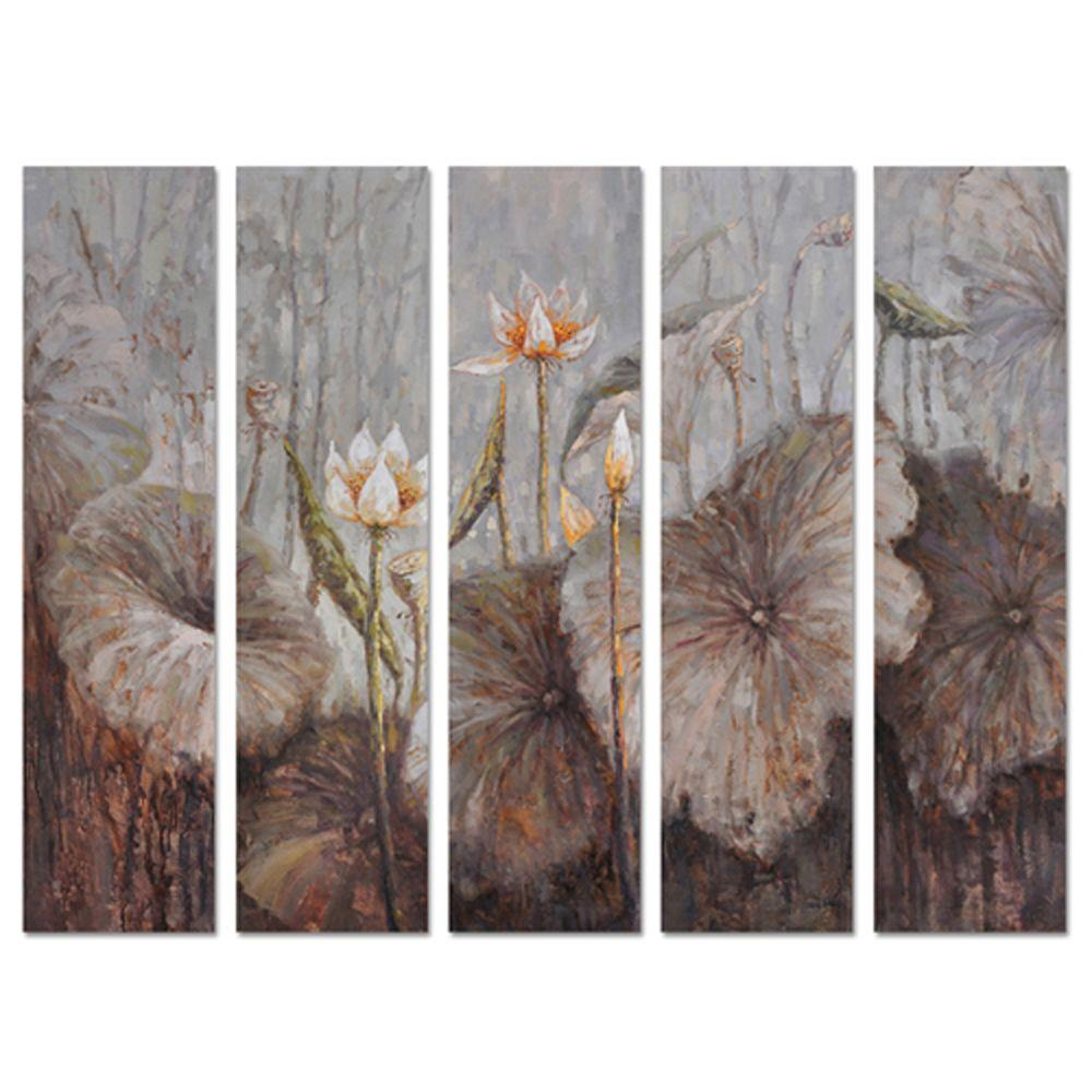 Yosemite Home Decor 98.5 in. x 78.5 in. Flowers in the Wild Hand Painted Contemporary Artwork