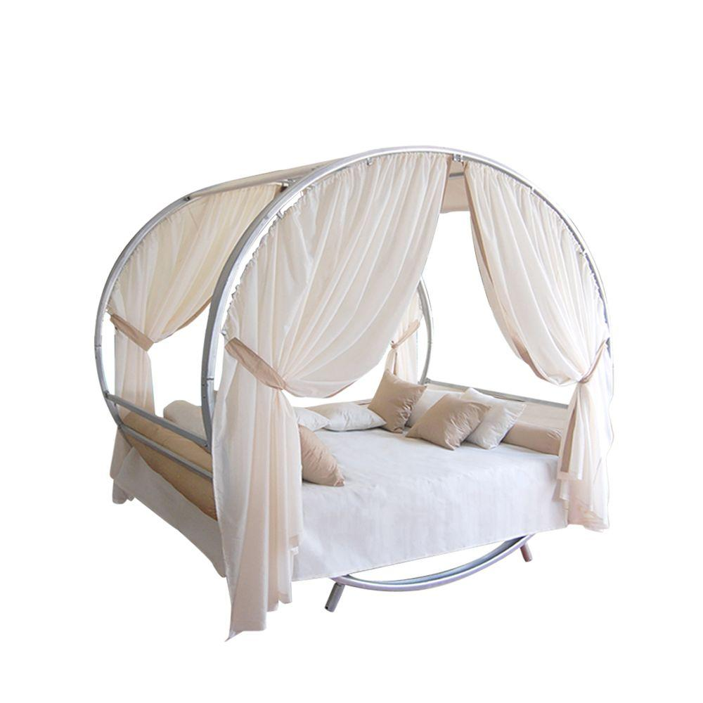 Vifah Luxury Sun Lounge Bed Full Patio Set with 73 in. x 64 in. Mattress-DISCONTINUED