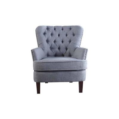 Gray Color Button Tufted Accent Chair with Nailhead