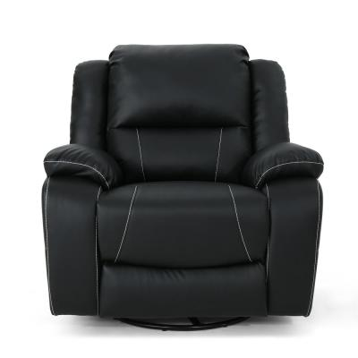 Malic Classic Tufted Black Leather Swivel Recliner