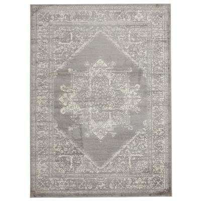 Alpina Collection Grey and Ivory 5 ft. 3 in. x 7 ft. 3 in. Oriental Medallion Area Rug