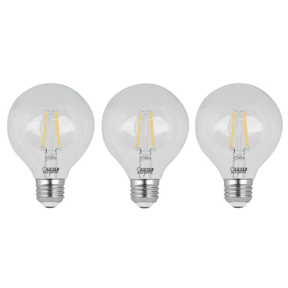 60-Watt Equivalent G25 Dimmable Filament ENERGY STAR Clear Glass LED Light Bulb, Soft White (3-Pack)