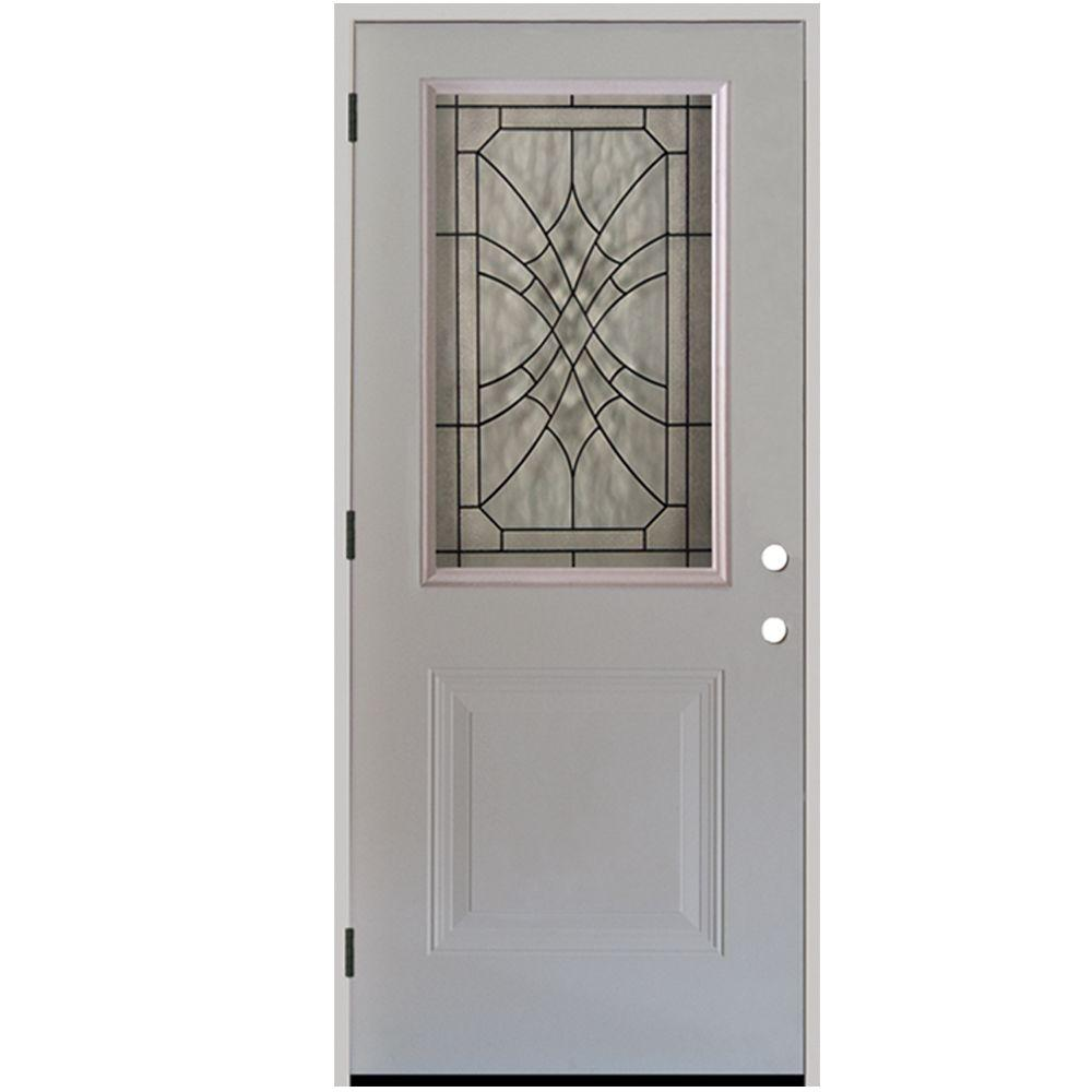 Steves & Sons 36 in. x 80 in. Webville 1/2 Lite Primed White Steel Prehung Front Door
