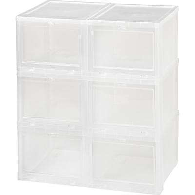 Small Drop Front Shoe Storage Box In Clear