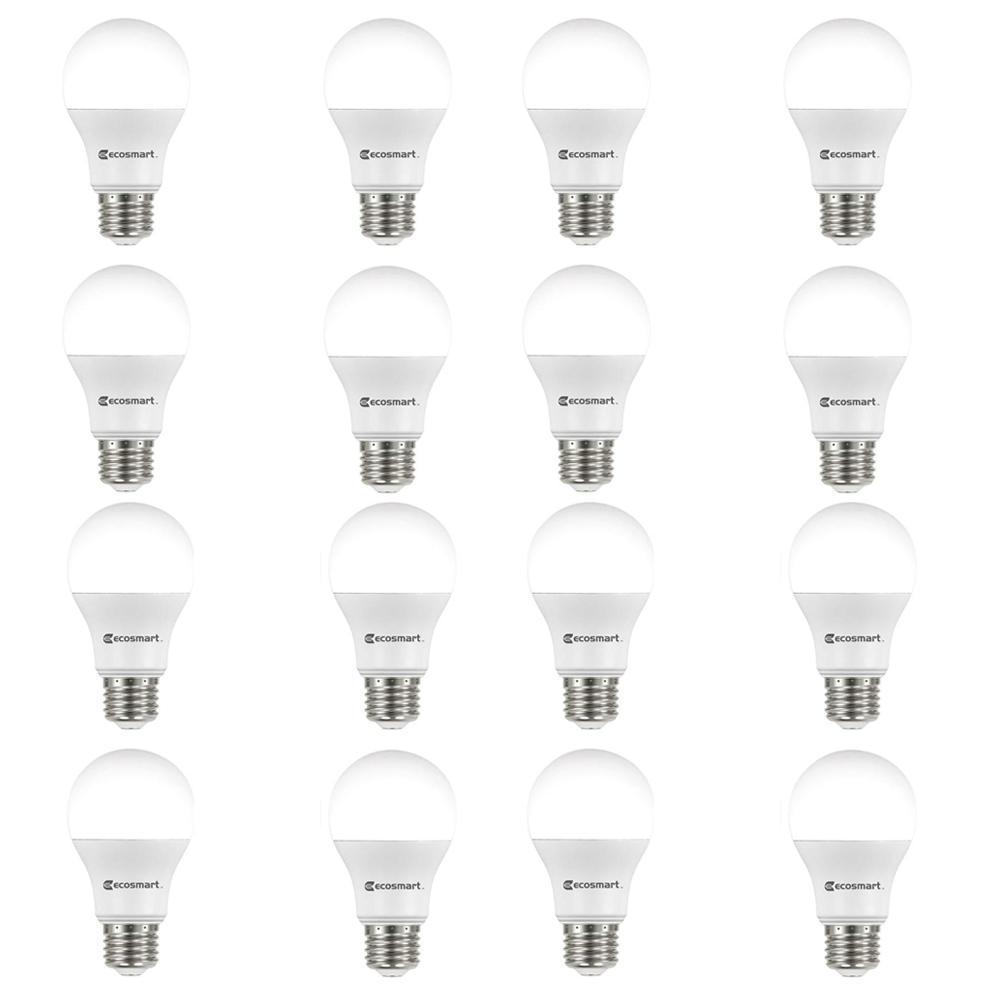 60-Watt Equivalent A19 Non-Dimmable LED Light Bulb Soft White (16-Pack)