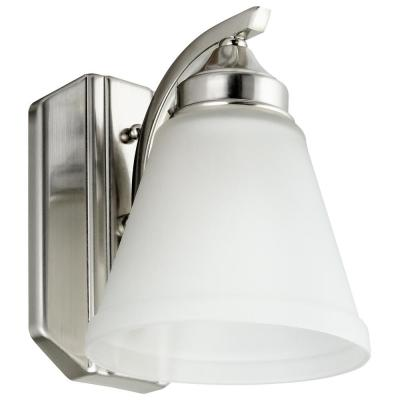 8 in. 1 Light Brushed Nickel Wall Bath Vanity Bar Light with Bell Shape Frosted Glass Shade