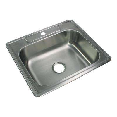 Select Drop-In Stainless Steel 25 in. 1-Hole Single Bowl Kitchen Sink in Brushed Stainless Steel