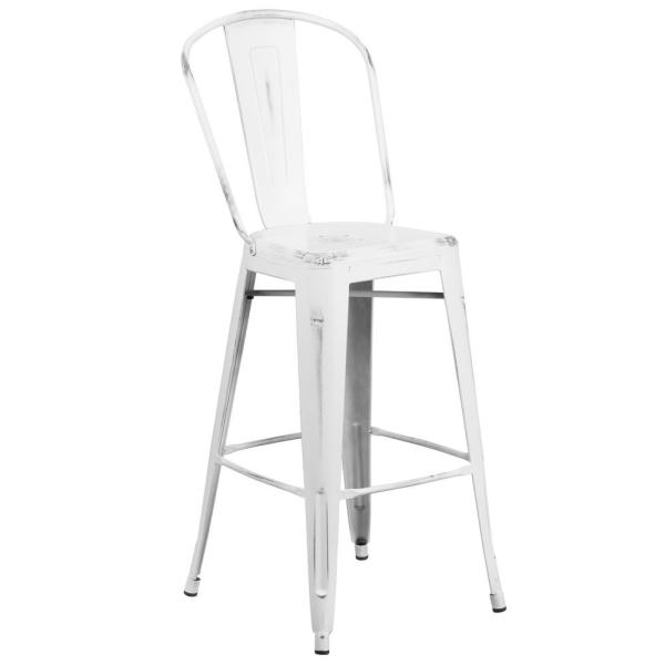30 in. Distressed White Bar Stool