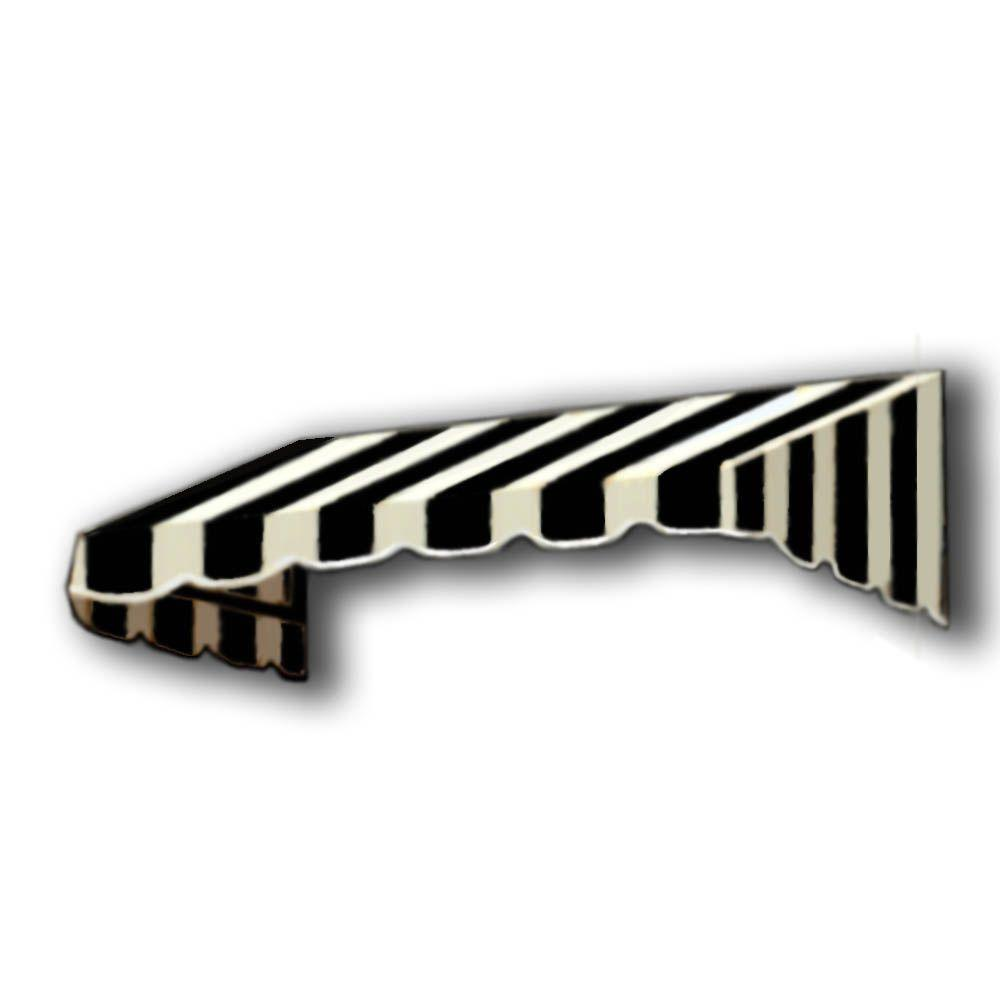 AWNTECH 8 ft. San Francisco Window/Entry Awning (56 in. H x 48 in. D) in Black/White Stripe