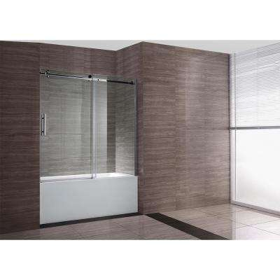 Zola 60 in. W x 59 in. H Semi-Frameless Sliding Tub Door in Chrome