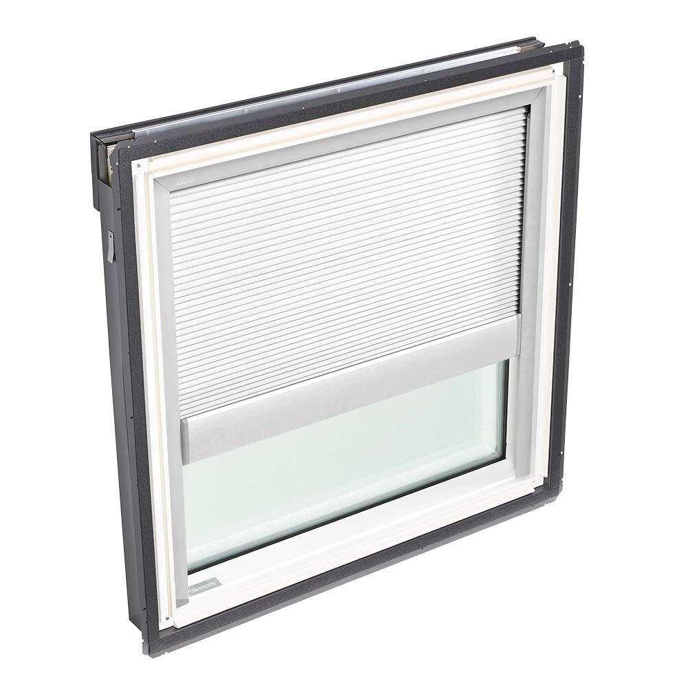 VELUX 44-1/4 in. x 45-3/4 in. Fixed Deck-Mount Skylight with Laminated Low-E3 Glass and White Manual Light Filtering Blind